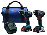 Bosch Power Tools Drill Set - CLPK232A-181 – 18-Volt Cordless Drill Driver/Impact Combo Kit with 2 Batteries, 18V Charger and Soft Carrying Case