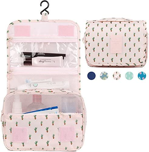 Hanging Travel Toiletry Bag Cosmetic Make up Organizer for Women and Girls Waterproof (Cactus) 7