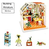 ROBOTIME Green House Building - DIY Miniature Dollhouse Accessories - Dolls House Furniture, Renovation kits with LED Light - Creative Toys for Older Girls and Adults