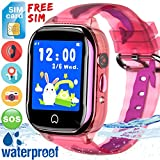 Kids Smart Watch GPS Tracker - [Free SIM Card]2019 New Waterproof Kids Smartwatch Phone for Boys Girls with HD Touch Screen SOS Anti-Lost Camera Game Toys Children Wrist Watch Bracelet Birthday Gifts