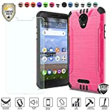 Compatible for Alcatel TCL A1 4G Case 5' A501DL Model Phone (Simple Mobile, Tracfone Version), with [Tempered Glass Screen Protector], Metallic Brushed Hybrid [Shock Proof] Cover Case (Hot Pink)