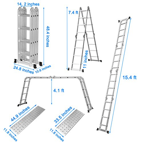 Finether Folding Ladder Multi-Purpose Aluminium Extension Ladder Heavy Duty Combination with Safety Locking Hinges and 2 Panels EN131 Certified Four-Fold Ladder 330 Lbs Capacity(15.4 Feet)