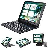 LENRICH iPad pro 12.9 case with keyboard 2017 2015,360 Rotatable Wireless Keyboard Smart Folio 180 Swivel Stand Hard Shell Cover Auto Sleep/Wake up Black