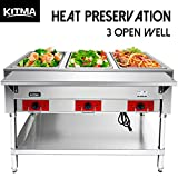 110 V Commercial Electric Food Warmer - Kitma 3 Pot Stainless Steel Steam Table, Buffet Server for Catering and Restaurants