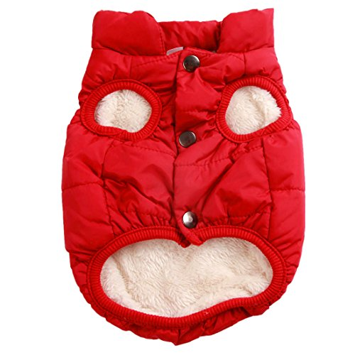 JoyDaog 2 Layers Fleece Lined Warm Dog Jacket for Puppy Winter Cold Weather,Soft Windproof Small Dog Coat, Red S