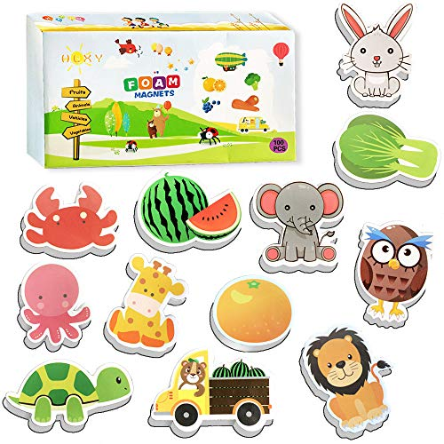 HLXY Fridge Magnets for Toddlers Kids 100 Pcs Animals Magnets -Fruit Vegetables Vehicle Magnets - Foam Magnets Educational Toy, Multicolor