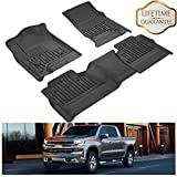 KIWI MASTER Floor Mats Liners Compatible for Silverado/Sierra Crew Cab 2014-2019 1500 2500 3500 HD Front & 2nd Seat All Weather Protector Slush Liner Mat Black
