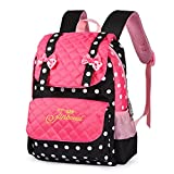 Vbiger Casual School Bag Children School Backpacks for Teen Girls Pink-black)