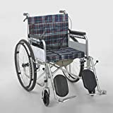 Canes- Soft seat Wheelchair Foldable Lightweight Thick Steel Pipe Four-Brake Portable Travel Elderly Travel Wheelchair (Color : A)