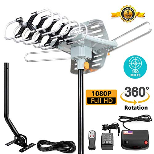 TV Antenna -Outdoor Amplified HDTV Antenna 150 Mile Motorized with Adjustable Antenna Mount Pole for 2 TVs Support - UHF/VHF 4K 1080P Channels Wireless Remote Control - 33FT Coax Cable