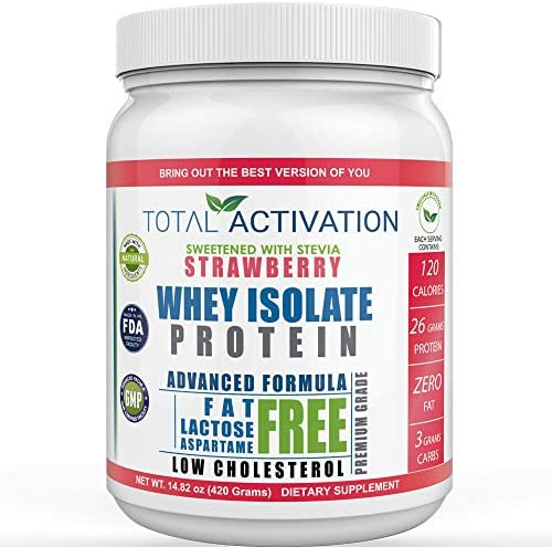 Lactose Free 100% Whey Isolate Low Carb Protein Powder Under 1 Gram Sugar Strawberry Protein Powder for Women Weight Loss & Men Post Workout Recovery Drink Meal Replacement Shakes Keto Protein Powder 1