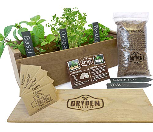 """Indoor/Outdoor Herb Garden Kit - Classic Wood Planter Box with Herb Seeds, Plant Stakes and Expanding Wondersoil - 16"""" Long x 6"""" Wide x 6"""" Tall (Will fit in windowsill up to 6"""" deep) -Antiqued Wood"""