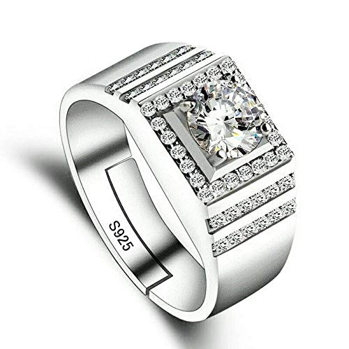 Tanakorn Silver Certificate Real Solid 925 Sterling Silver Rings Men Jewelry Cz Zircon Wedding Rings For Men Gift Wedding