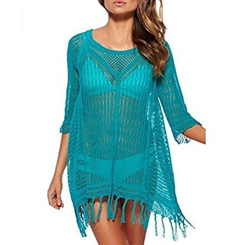 DDMY Beach Tops Sexy Perspective Cover Dresses Bikini Cover-UPS (Blue)