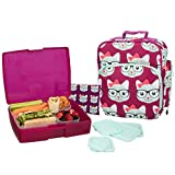 Bentology Lunch Bag and Box Set for Girls - Includes Insulated Durable Tote Bag with Handle and bottle holder, Bento Box, 5 Containers and Ice Pack - BPA & PVC Free (Kitty)
