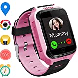 GPS Smart Watch for Kids – Boys Girls Smartwatch Phone with GPS/LBS Locator 2 Way Calls SOS Camera Voice Chat Math Game Step Counter Geo Fence for Kids Holiday Birthday Gifts Back to School