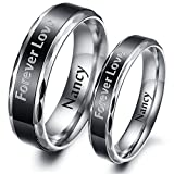 HooAMI Womens Stainless Steel Black Couple Rings Wedding Engagement Bands Size 8 - Free Engraving