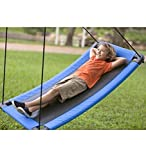 HearthSong® SkyCurve Hanging Platform Rope Tree Swing for Multiple Children, Padded Steel Frame, Weather Resistant Fabric Mat, 400 LB Max Weight, 60 L x 32 W