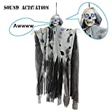 JOYIN 36' Animated Hanging Grim Reaper, Ghost with Led Eyes & Creepy Sounds & Moving Head for Best Halloween Props
