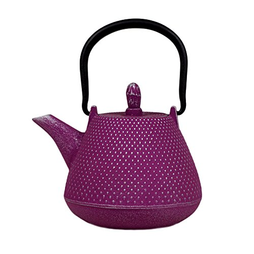 Japanese Cast Iron Teapot 13.5 oz Nambu-tekki Arare Dot Pattern - Purple & Silver [Japanese Crafts Sakura]