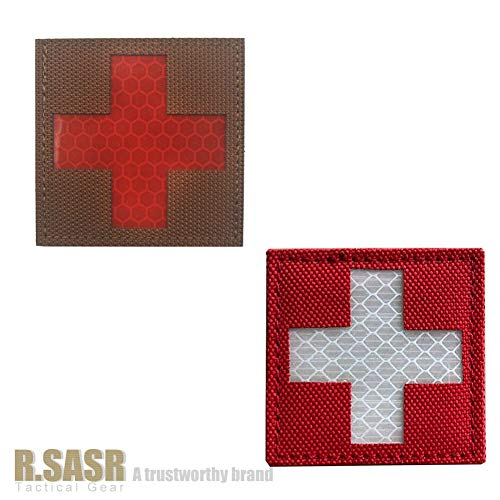 R.SASR Bundle 4 Pieces – Reflective Medic Patches, Tactical Medical Patches, Hook-Fastener Backing 2×2 inch (Mix) deal 50% off 51mwyzpnydL