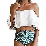 Swimsuits for Women,Chaofanjiancai Two Pieces Bathing Suits Top Ruffled Racerback High Waisted Bottom Tankini Set Swimwear White