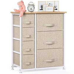 7 Drawer Fabric Dresser Storage Tower, Dresser Chest with Wood Top and Easy Pull Handle, Organizer Unit for Closets…