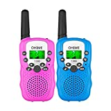 Ohime Kids Walkie Talkies,Cover 3 Miles Range with Backlit LCD Flashlight 22 Channels 2 Way Radio Toy Outdoor Adventures, Camping, Hiking,Party (Pink&Blue)