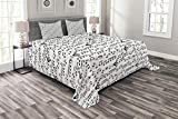 Ambesonne Music Bedspread Set Queen Size, Abstract Style Professional Music Pattern with Notes and Clef Sheet Play Writing, Decorative Quilted 3 Piece Coverlet Set with 2 Pillow Shams, Black White