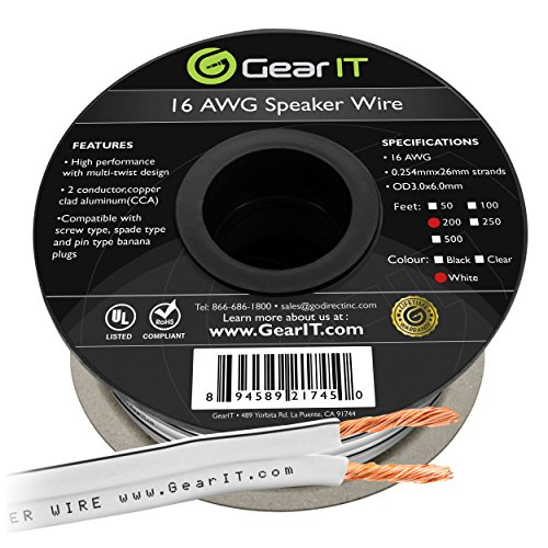 16AWG Speaker Wire, GearIT Pro Series 16 Gauge Speaker Wire Cable (200 Feet / 60.96 Meters) Great Use for Home Theater Speakers and Car Speakers, White