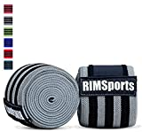 RIMSports Knee Wraps (Pair) 80' for Powerlifting, Gym Equipment - Premium Powerlifting Knee Wraps - Best Knee Wraps for Squats - Ideal Knee Straps Weightlifting & Knee Straps for Squats(Gray)