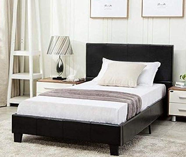 Mecor Twin Size Bed Frame Faux Leather Upholstered Bonded Platform Bed Panel Bed