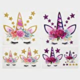 Calculs Unicorn Birthday Iron on Transfers for Birthday Girl Magical HTV Decorations Stickers for Kid's T-Shirts, Bed Sheet Set, Cushions - Glitter Eco-Friendly 6Pcs