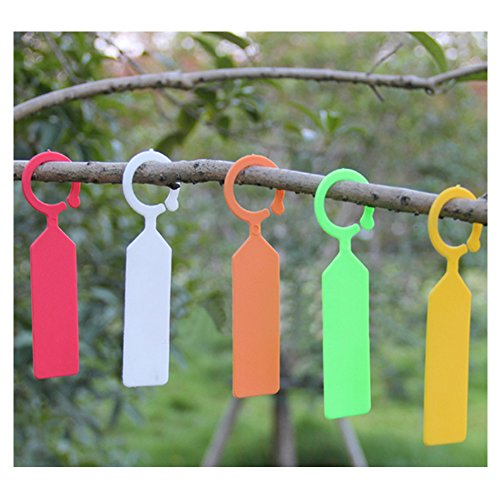Cosmos® 100 Pcs 5 Colors Thick Plastic Plant Tree Hanging Tags Markers  Nursery Garden Labels