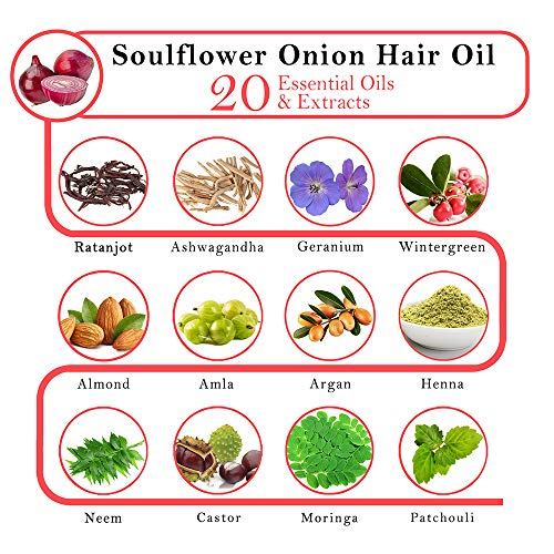 Soulflower Onion Herbal Hair Growth Oil Blend of 20 Essential Oils and Natural Extracts with Ratanjot Herb for Grey Hair, Red, 220 ml 26