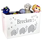 Product review for Personalized Boys Gray Elephant Toy Box