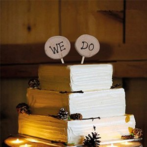 Bazaar 2Pcs We Do Wedding Wood Cake Topper Interpolation Decoration Birthday Party Tool 51n ZctAevL