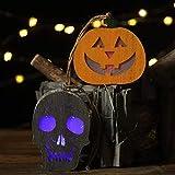 m·kvfa Halloween Lantern Horror Skull Pumpkin Pendant Wooden Hanging Light Party Decor for Patio Garden Gate Yard Decoration
