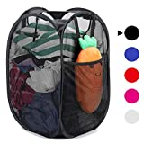 [Reinforced] Strong Mesh Pop-up Laundry Hamper, Quality Laundry Basket with Durable Handles Solid Bottom High Carbon Steel Frame, Easy to Open and Fold Flat for Storage, Odors & Moisture Proof, Black