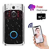 Video Doorbell Camera Wi-Fi with Motion Detector, Doorbell Security Camera with Two-Way Talk, IP55 Waterproof, Wide Angle, Night Vision,Push Notification,Free Cloud Storage and 32GB SD Card