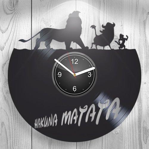 Hakuna Matata Walt Disney The Lion King Simba Mufasa Gift For Boyfriend Girlfriend Wall Art, New Handmade Vinyl Wall Clock Decor, Office Decoration For Living Room Inspirational, Best Present For Him