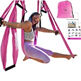 Aum Active Yoga Trapeze Set: Ultra Strong Hammock Swing, Large Comfy Handles, Extension Straps + Inversion Video & Pose Guide - Tool for Aerial Yoga, Anti-Gravity Sling, Relieve Back Pain