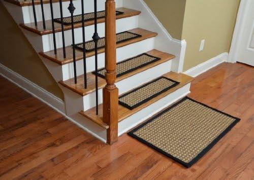 Indoor Outdoor Flatweave Carpet Stair Treads Timbuktu Black 13 | Indoor Outdoor Carpet Stair Treads | Rug | 26 Inch | Ottomanson Jardin | Walmart | Anti Slip Stair