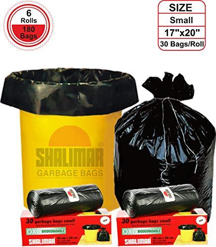 51nAF6+nKjL - Shalimar Premium OXO - Biodegradable Garbage Bags (Small) Size 43 cm x 51 cm 6 Rolls (180 Bags) ( Black Colour )