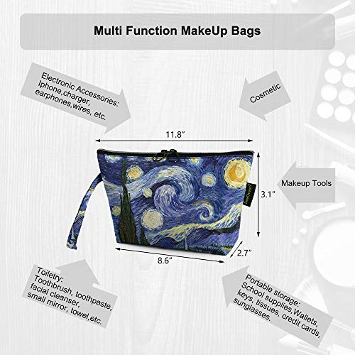 Roomy-Cosmetic-Bag-for-Women-BeeGreen-Cute-Fashion-Travel-Pouch-with-Zipper-Makeup-Bag-Travel-Toiletry-Pouch-Girls-Gifts-Vivid-Starry-Night-Print-Pattern