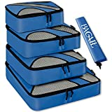 New BAGAIL 4 Set Packing Cubes,Travel Luggage Packing Organizers with Laundry Bag Dark Blue