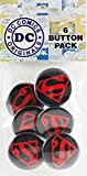 "Button set DC Comics Originals Superman Logo 6 Individual Loose Buttons, 1.25"", Black"