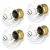 SooFoo Appliance Oven Refrigerator Bulbs, G45 Shape Appliance light bulb, High Temp - E27/E26 Medium Brass Base - 40 Watt/110v - 120v, Clear Glass Oven Bulb, 400Lumens(4-pack)
