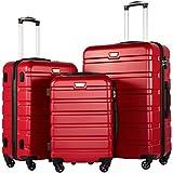 COOLIFE Luggage 3 Piece Set Suitcase Spinner Hardshell Lightweight TSA Lock (red3)