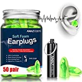 AMAZKER Ear Plugs Anti-Noise Soft Quiet Sleeping Earplugs With Aluminum Carry Case No Cords NoiseReductionPerfect For Study SleepingWorking Travel Snoring SNR 35dB 50 Pairs (Brilliant Green)